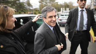 Le candidat à la présidentielle, François Fillon, le 27 février 2017 à Meaux (Seine-et-Marne). (LIONEL BONAVENTURE / AFP)