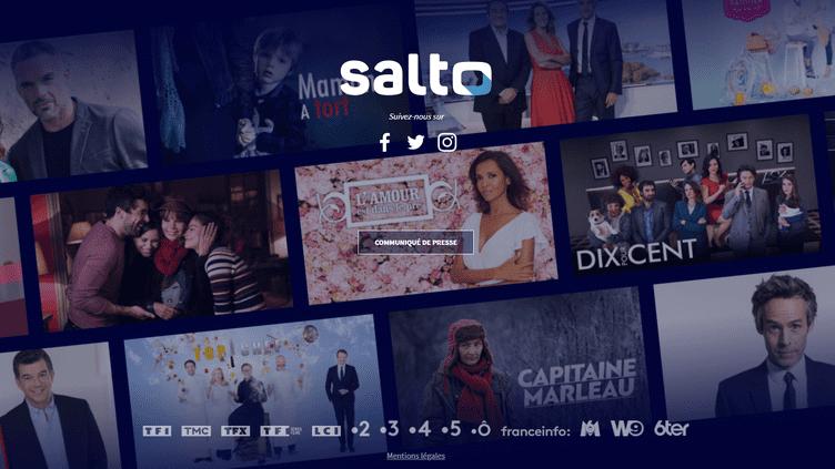Capture d'écran de la page d'accueil de Salto, la future plateforme commune à France Télévisions, TF1 et M6, annoncée le 15 juin 2018. (SALTO)