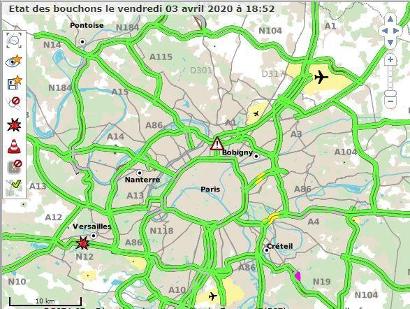 Carte représentant les bouchons en région parisienne, le 3 avril 2020, à 18h30. (CAPTURE D'ECRAN / SYTADIN.FR)