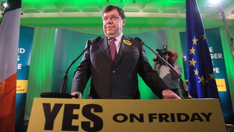 Référendum sur le traité européen de Lisbonne: Brian Cowen, Premier ministre irlandais, appelle à voter Oui (30/09/2009) (© AFP/Peter Muhly)