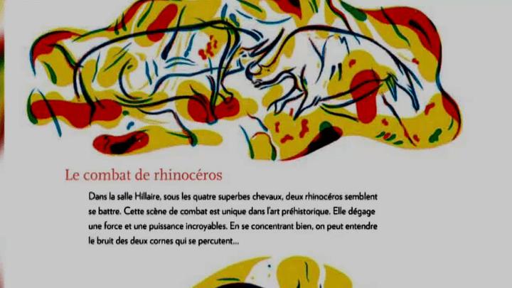 L'ouvrage, très didactique, décrypte certaines fresques de la grotte  (France 3 / Culturebox / capture d'écran / Dessin : Julien Billaudeau)