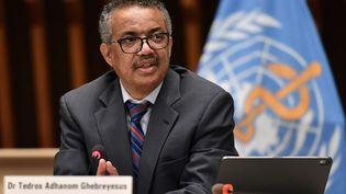 Le directeur général de l'OMS,Tedros Adhanom Ghebreyesus, lors d'une conférence de presse à Genève, le 3 juillet 2020. (FABRICE COFFRINI / AFP)