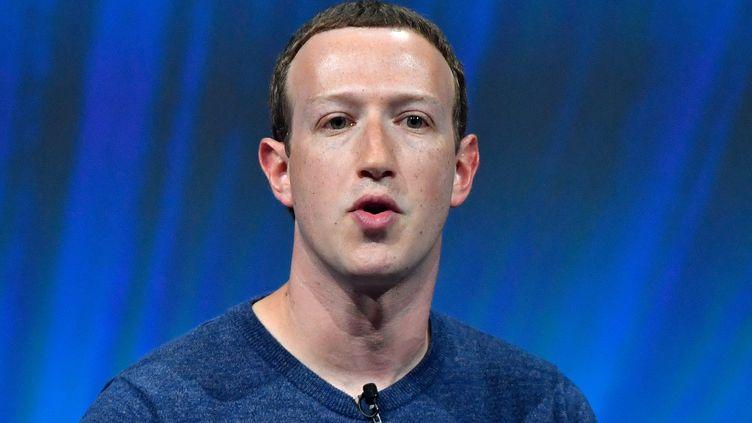 Le patron et fondateur de Facebooklors d'un discours au salon VivaTech à Paris, le 24 mai 2018. (GERARD JULIEN / AFP)