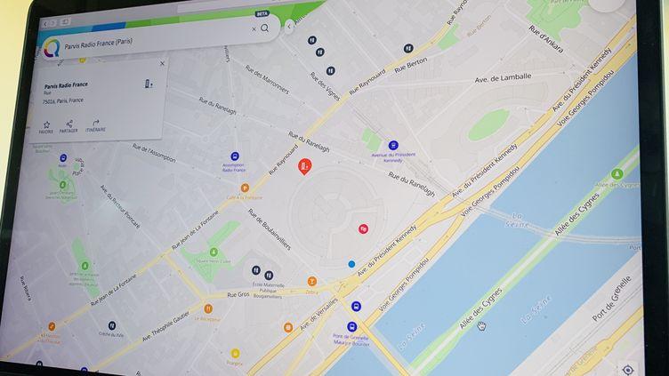 Qwant Maps centré sur la Maison de la radio, à Paris. (JEROME COLOMBAIN / RADIO FRANCE)