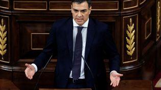 Le chef du Parti socialiste espagnol (PSOE), Pedro Sanchez, pendant son discours lors du débat parlementaire sur la motion de censure à l'encontre de Mariano Rajoy, à Madrid (Espagne), le 1er juin 2018. (EMILIO NARANJO / AFP)