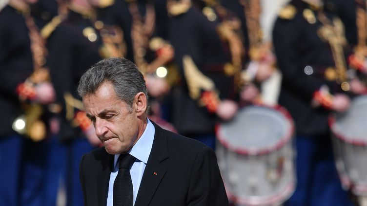 Nicolas Sarkozy, le 30 septembre 2019 à l'Elysée, à Paris, pour l'hommage à Jacques Chirac. (JULIEN MATTIA / ANADOLU AGENCY / AFP)