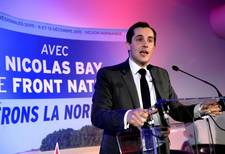 Nicolas Bay, tête de liste FN aux élections régionales en Normandie, lors d'un meeting à Rouen (Seine-Maritime), le 13 novembre 2015. (MAXPPP)