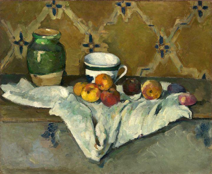 """Paul Cézanne, """"Nature morte avec jarre, tasse et pommes"""", vers 1877, Metropolitan Museum of Art, New York, legs de Mme H. O. Havemeyer, 1929  (CC0)"""
