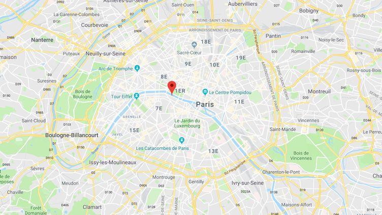 Capture d'écran d'une carte Google Maps, indiquant le lieu où a été tué un automobiliste, dans le 7e arrondissement de Paris. (GOOGLE MAPS)
