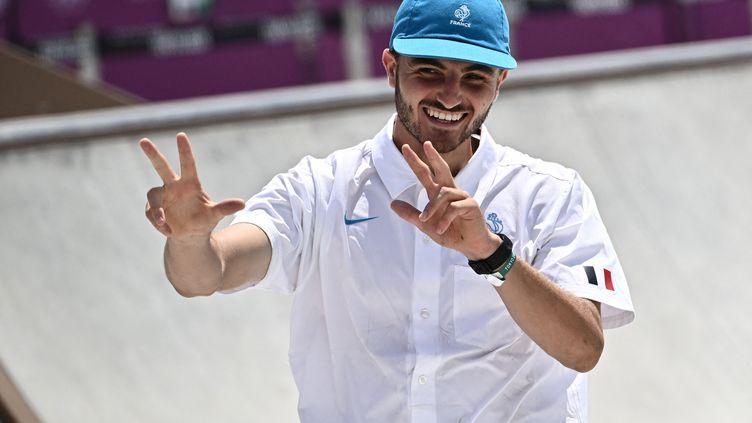Vincent Milou, skateur aux Jeux olympiques de Tokyo, le 25 juillet 2021. Le landais a participé pour la première fois à des JO. (JEFF PACHOUD / AFP)