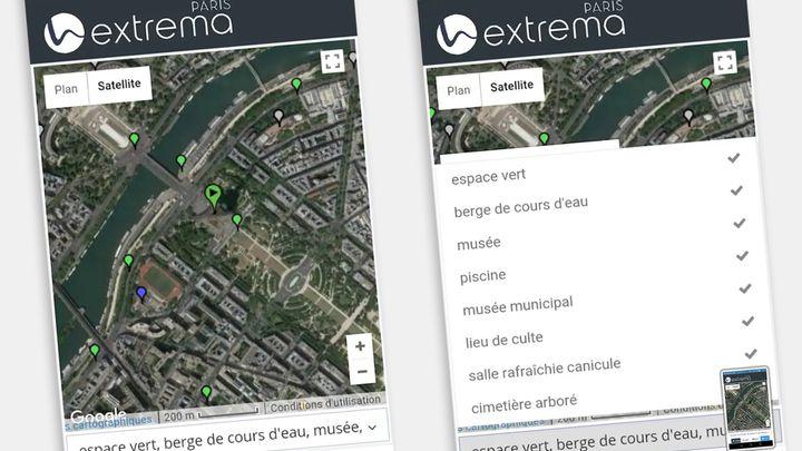"""Exemple d'écrans de l'appli """"Extrema paris"""" (CAPTURE ECRAN / EXTREMA)"""