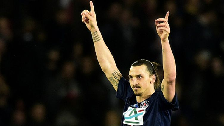 L'attaquant du PSG Zlatan Ibrahimovic lors de son 100e but sous le maillot parisien