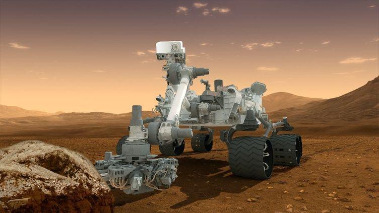 Vue d'artiste du robot Curiosity, qui s'est posé sur Mars le 5 mars 2012. (NASA / JPL-CALTECH / ASU / AFP)