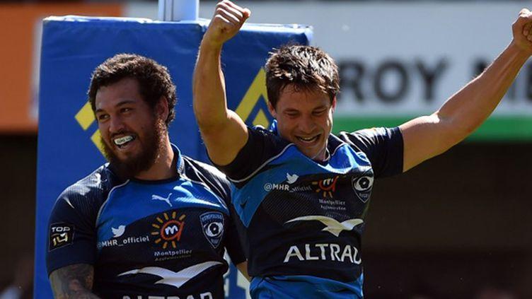 L'équipe de Montpellier, un mélange de formation (avec François Trinh-Duc) et de stars (avec René Ranger) (PASCAL GUYOT / AFP)