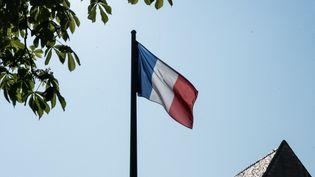 Un drapeau de la République française flotte sur le toit du Conservatoire national des arts et métiers, à Paris, le 20 avril 2021. (ANDREA SAVORANI NERI / NURPHOTO / AFP)