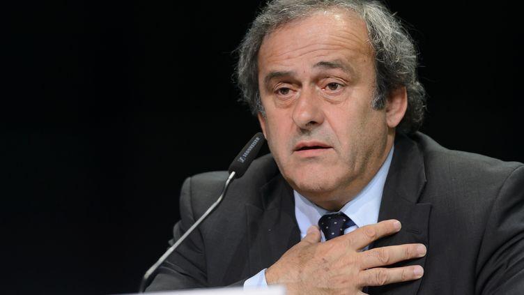 Président de l'UEFA, Michel Platini en conférence de presse le 28 mai 2015 àZurich (Suisse) (FABRICE COFFRINI / AFP)