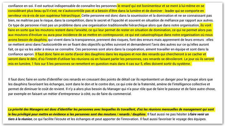 Compte rendu de réunion de managers du groupe Hervé. (Cellule investigation Radio France)