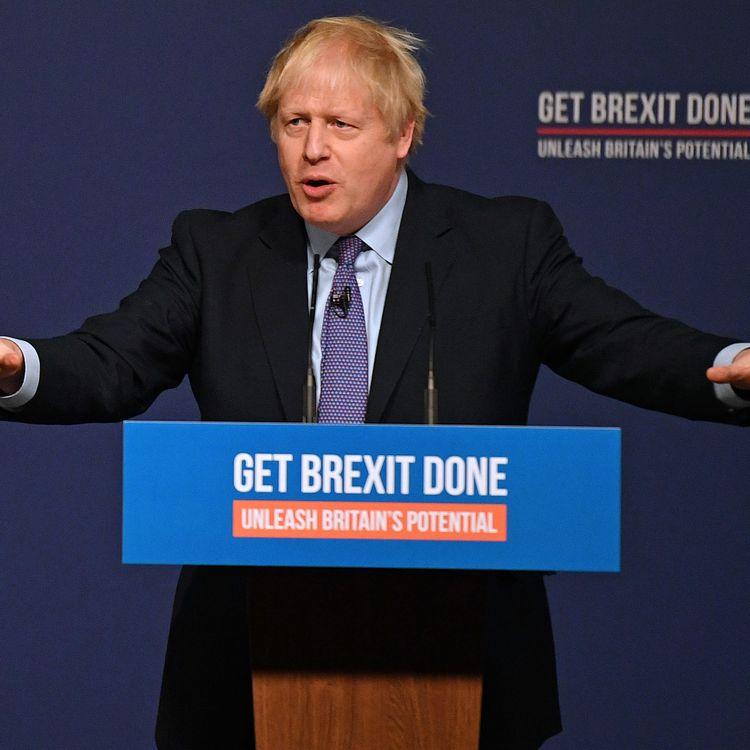 Le Premier ministre britannique, Boris Johnson, lance le programme du parti conservateur pour les élections législatives anticipées du 12 décembre 2019, le 24 novembre 2019 à Telford (Royaume-Uni). (DANIEL LEAL-OLIVAS / AFP)