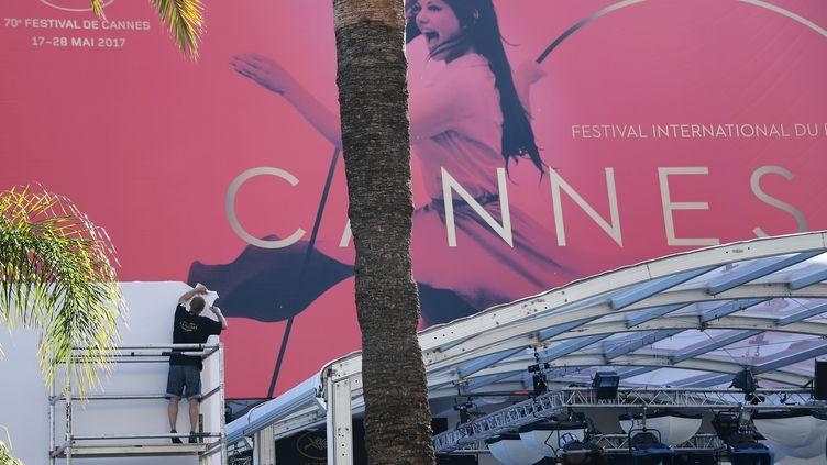 La façade du palais des Festivals, le 15 mai 2017, à Cannes (Alpes-Maritimes). (ANNE-CHRISTINE POUJOULAT / AFP)