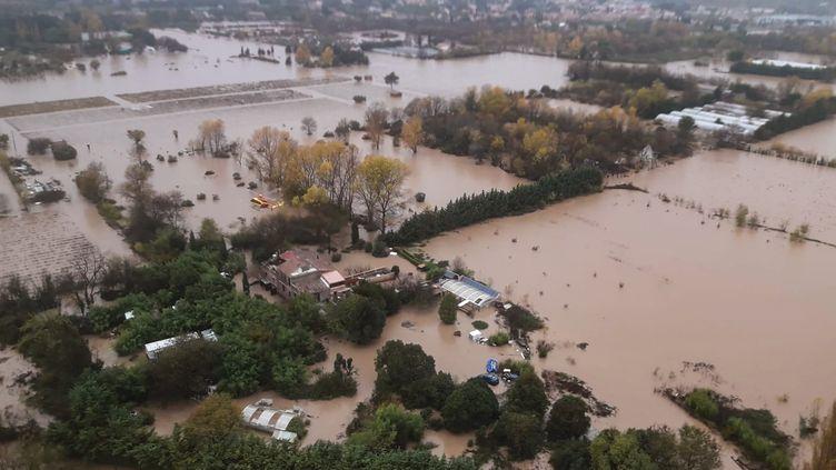 La commune du Luc, inondée,dans le département du Var, en région Provence-Alpes-Côte d'Azur. (HANDOUT / SECURITE CIVILE)