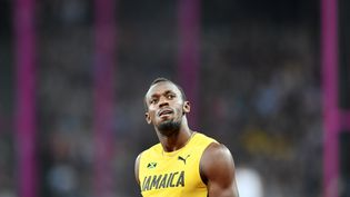 Le Jamaïcain Usain Bolt, le 4 août 2017 lors des Mondiaux d'athlétisme de Londres (Grande-Bretagne). (MUSTAFA YALCIN / ANADOLU AGENCY / AFP)