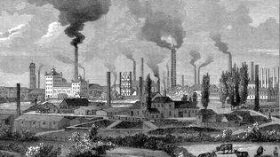 L'usine sidérurgique de la famille allemande Krupp, à Essen dans l'ouest de l'Allemagne, en 1896. (PRINT COLLECTOR / HULTON ARCHIVE / GETTY IMAGES)
