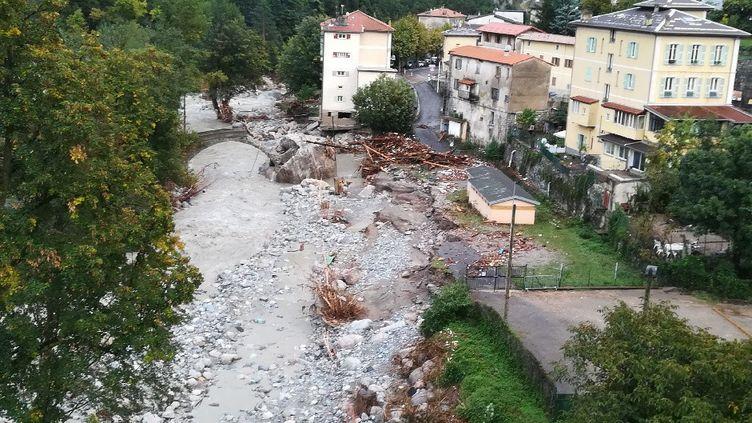 La vallée de la Roya dévastée par la tempête Alex, mi-janvier 2021. (ALAIN GASTAL / RADIOFRANCE)