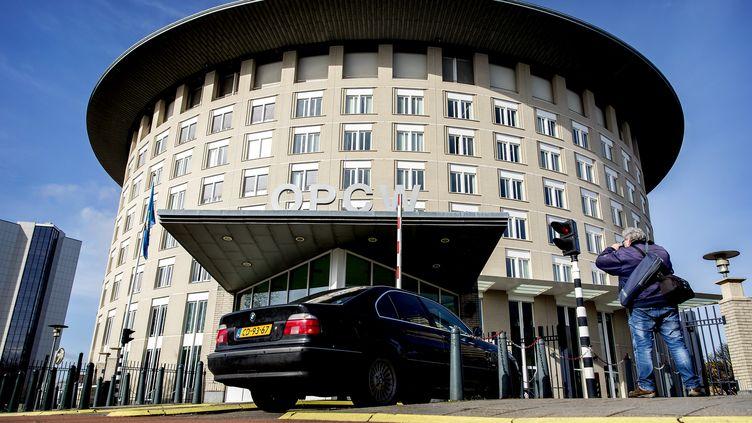 Le siège del'Organisation pour l'interdiction des armes chimiques (OIAC) à La Haye (Pays-Bas), le 16 avril 2018. (KOEN VAN WEEL / ANP MAG / AFP)