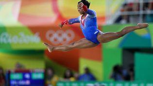 La gymnaste Simone Biles, lors du la finale de gymnastique au sol, les des Jeux olympiques de Rio, le 16 août 2016. (ANDREY /AGIF / SHUTTERSTOC / SIPA / REX)