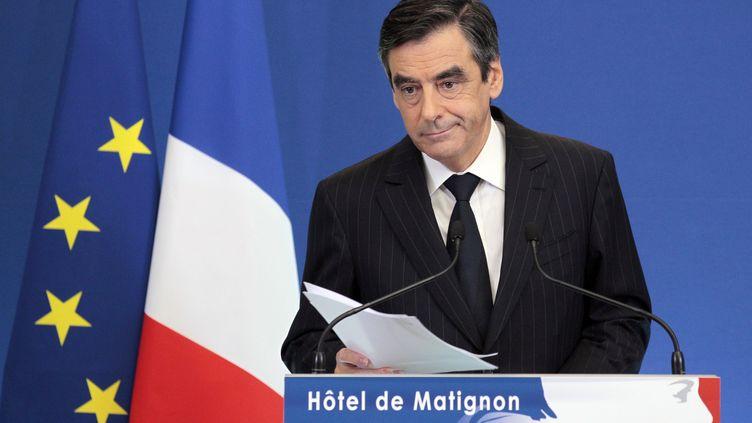 François Fillon lors de sa conférence de presse sur le nouveau plan de rigueur, le 7 novembre 2011 à l'hôtel de Matignon, à Paris. (JACQUES DEMARTHON / AFP)