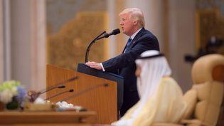 Donald Trump lors de son discours à Riyad, le 21 mai 2017. (BANDAR ALGALOUD / SAUDI KINGDOM  / ANADOLU AGENCY)