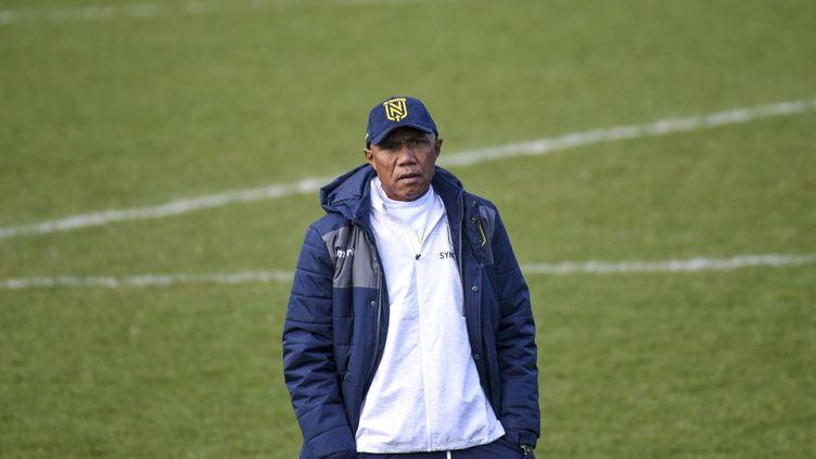 L'entraîneur du FC Nantes Antoine Kombouaré à La Chapelle-sur-Erdre (Loire-Atlantique), le 12 février 2021. (SEBASTIEN SALOM-GOMIS / AFP)