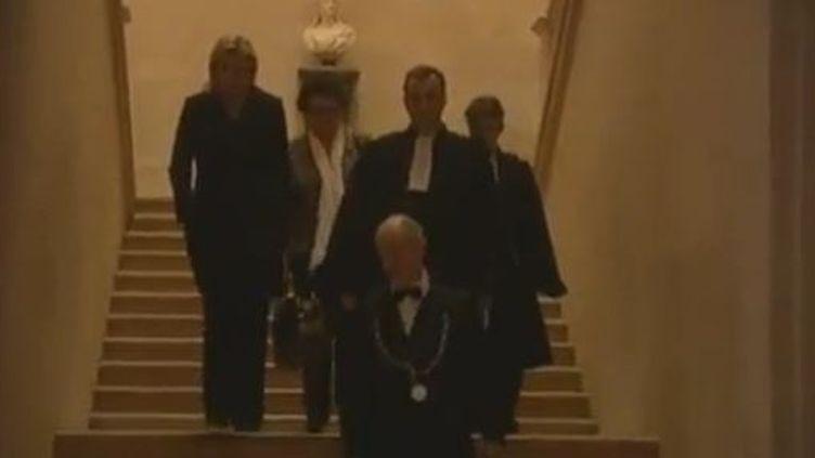 Marine Le Pen et Christine Boutin au Conseil constitutionnel, jeudi 16 février 2012. (FRANCE TELEVISIONS)