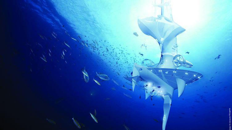 Image générée par un ordinateur et créée par l'architecte Jacques Rougerie. Elle montre le vaisseau de recherche du futur SeaOrbiter, dont la construction devait commencer en 2014. Ce laboratoire, un semi-submersible était prévu pour permettre à des scientifiques et d'autres personnes de vivre sous la surface de l'océan. SeaOrbiter faute de financement, n'a pas encore pu voir le jour... (JACQUES ROUGERIE / SEAORBITER / AFP)