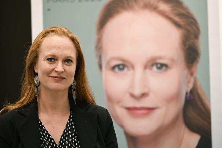 Violette Spillebout, candidate LREM à la mairie de Lille (Nord), prend la pose dans ses locaux de campagne, le 18 octobre 2019. (DENIS CHARLET / AFP)