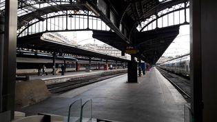 Les quais de la gare de l'Est, à Paris, sont vides le 28 mai 2018. (NICOLAS MERCIER / CROWDSPARK / AFP)