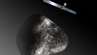 Visualisation artistique de la sonde Rosetta et de la comète Tchouri. (C. CARREAU / MEDIALAB / ESA / AFP)
