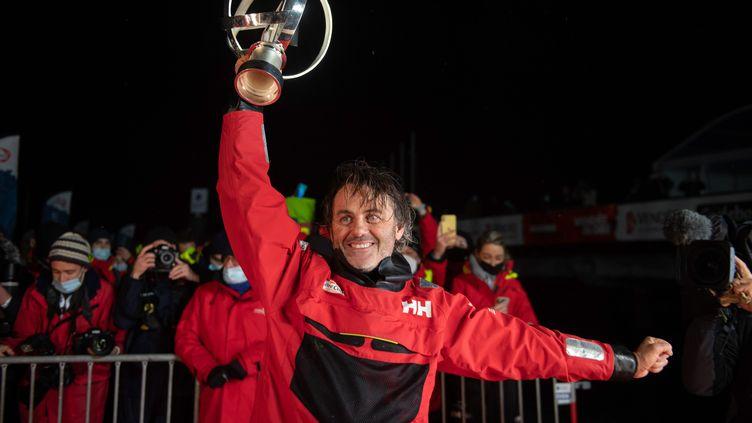 Yannick Bestaven, le skipper du bâteau Maître Coq IV, vainqueur de la 9ème édition du Vendée Globe 2020. (DAVID ADEMAS / OUEST-FRANCE / MAXPPP)