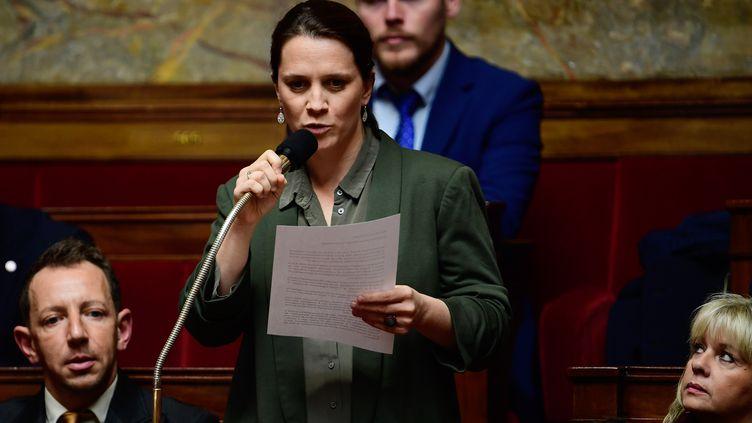 La députée LREM de la Drôme et vice-présidente de la commission spéciale chargée de l'examen de la réforme Célia de Lavergne, le 15 novembre 2017 à l'Assemblée nationale. (MARTIN BUREAU / AFP)