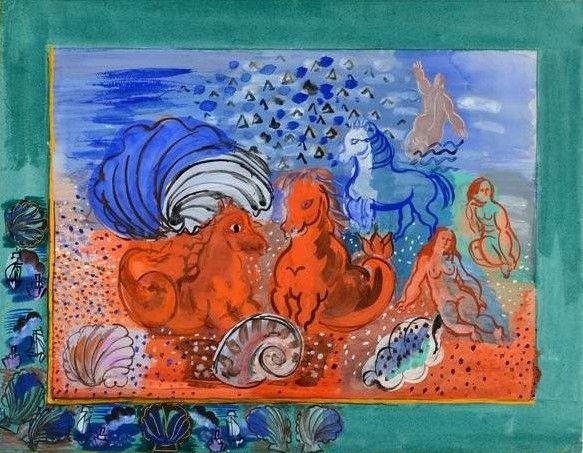 """Raoul Dufy """"Naïade et chevaux marins"""" (vers 1925)  (Adagp Paris 2017)"""