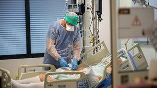 Le personnel du service de réanimation de l'hôpital de Périgueux (Dordogne) prend en charge des patients atteints du Covid-19, le19novembre 2020. (ROMAIN LONGIERAS / HANS LUCAS / AFP)