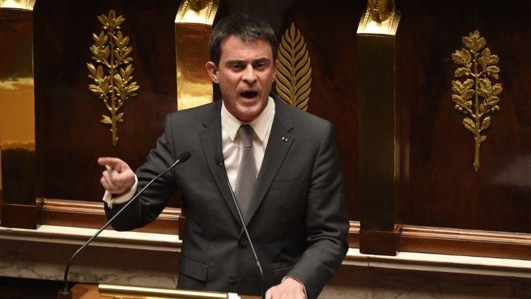 Le Premier ministre, Manuel Valls, à l'Assemblée nationale, jeudi 19 février 2015. (MARTIN BUREAU / AFP)