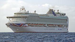 Le navire de croisière Azura, deP&O Cruises, le 20 décembre 2016 près des îles Caïmans. (RON SACHS / DPA / AFP)