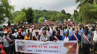 Une manifestation àMamoudzou (Mayotte), le 7 mars 2018. (ORNELLA LAMBERTI / AFP)