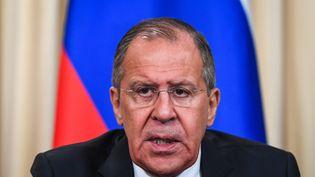 Le ministre des Affaires étrangères russeSergueï Lavrov, le 14 mars 2018 à Moscou (Russie). (KIRILL KUDRYAVTSEV / AFP)