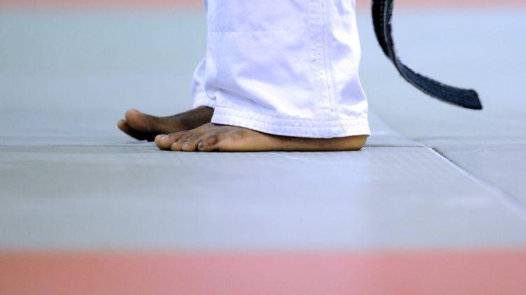 Une personne pratiquant le judo sur un tatami (illustration). (FRANCK FIFE / AFP)
