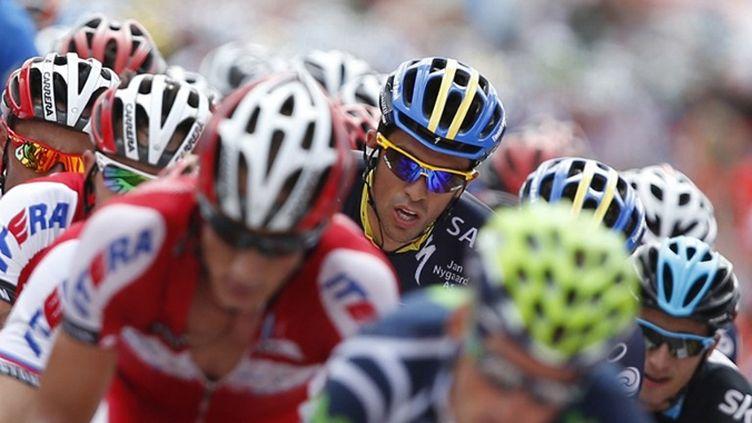 Alberto Contador avec le maillot de la Saxo Bank