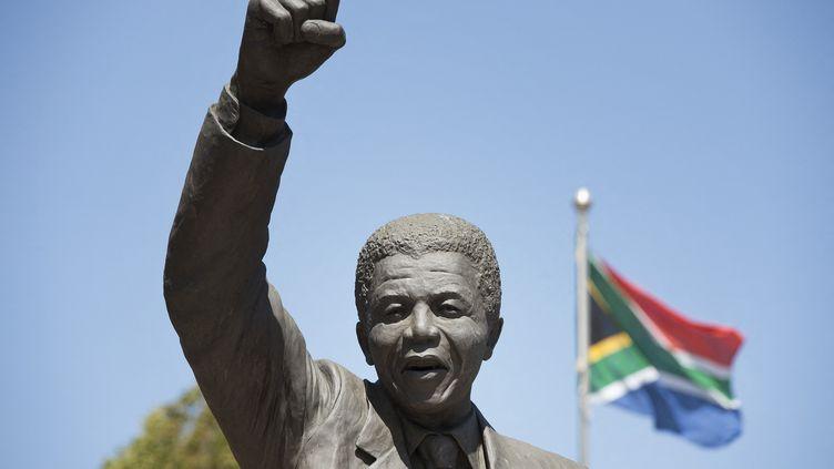 Statue de Nelson Mandela située devant la prison de Drakenstein, à Paarl, 23 janvier 2020. Le leader de la lutte anti-apartheid sera le premier président de l'Afrique du Sud élu démocratiquement. (RODGER BOSCH / AFP)