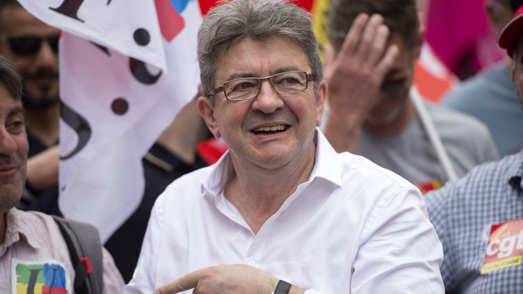 """Jean-Luc Mélenchon lors de la """"Marée populaire"""" à Marseille (Bouches-du-Rhône), le 26 mai 2018. (BERTRAND LANGLOIS / AFP)"""