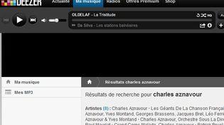 """Capture d'écran du site d'écoute en """"streaming"""" Deezer (FTVi)."""